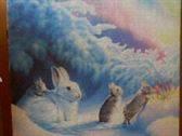 Puzzle, familia de conejos comiendo en el campo