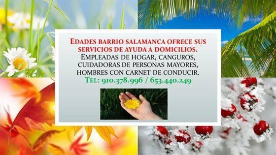 Empleadas de hogar interna, externa, agencia Edades Barrio Salamanca