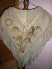 poncho de piel mexicano artesanal, grabado a fuego